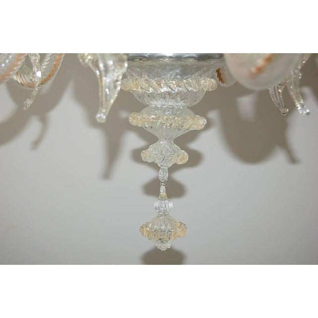 Vintage Murano Glass Champagne Gold Chandelier For Sale - Image 9 of 11