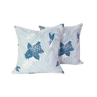 "Asian Modern Custom Made Designer Tropical Koi Motif Pair of Pillows - 18""x18"" For Sale"