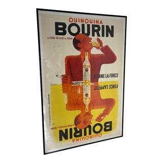 1930s Bourin Quinquina Full Poster, Framed For Sale