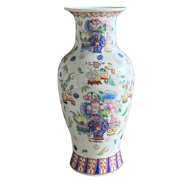 19th Century Chinese Famille Rose Vase With Pink Flowers For Sale - Image 10 of 10