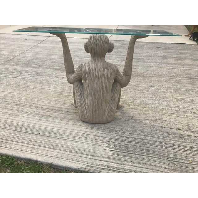 Boho Chic 1970s Mario Lopez Torres Style Figurative Resin Monkey Console Table For Sale - Image 3 of 5