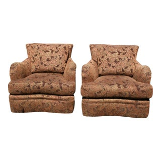 Paisley Pattern Swivel Club Chairs- A Pair For Sale