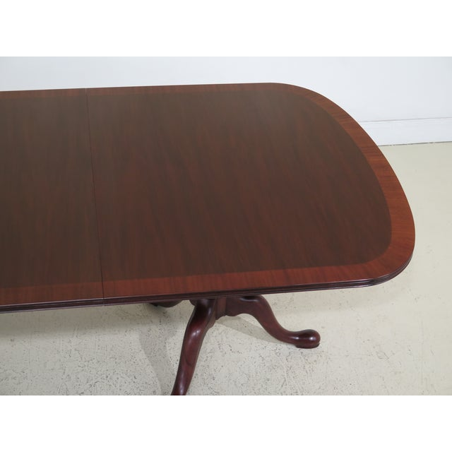 Queen Anne Henkel Harris Banded Mahogany Dining Room Table For Sale - Image 9 of 12
