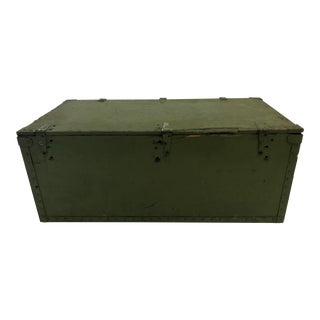 Vintage Industrial Green Wood Foot Locker Trunk For Sale