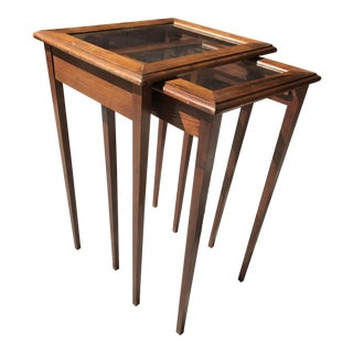 Vintage Wood & Glass Nesting Tables - A Pair