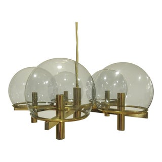 Lightolier Mid-Century Italian Gaetano Sciolari Designed Brass Five-Arm Chandelier For Sale