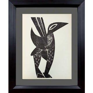 1964 Hap Grieshaber Original Woodcut (Bird) Framed Print For Sale