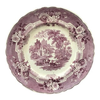 Antique Staffordshire Mulberry Purple Transferware Dinner Plate For Sale