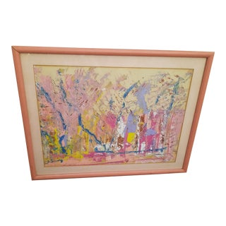 Abstract Landscape Pink Painting For Sale