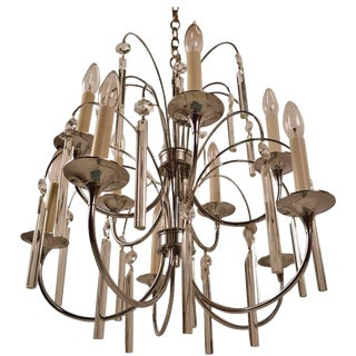 Ten-Light Chrome and Glass Chandelier by Sciolari For Sale