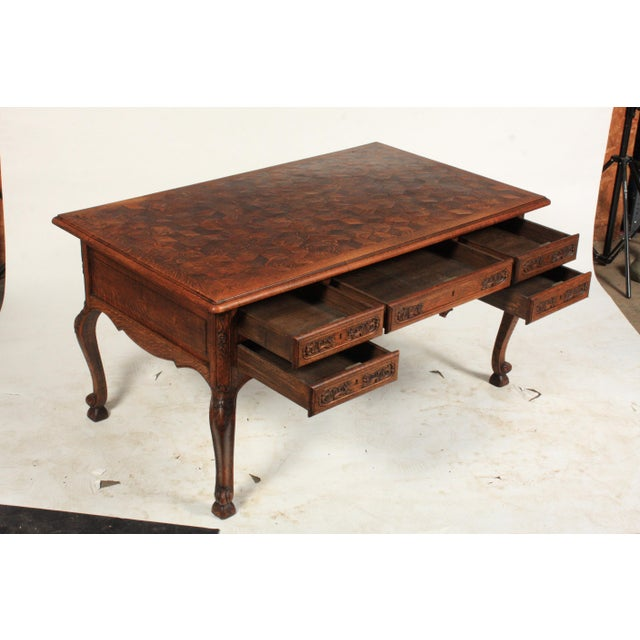French 1930s French Louis XV-Style Parquet Top Writing Desk For Sale - Image 3 of 9