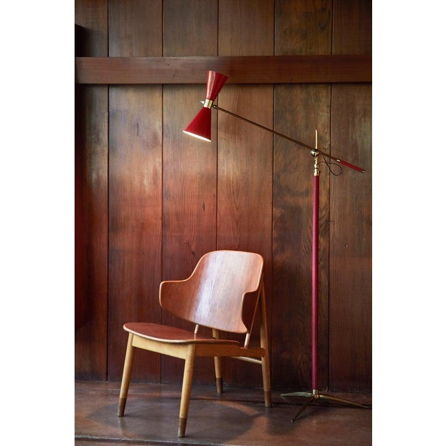 French 1950s Vintage French Red Articulating Floor Lamp For Sale - Image 3 of 10