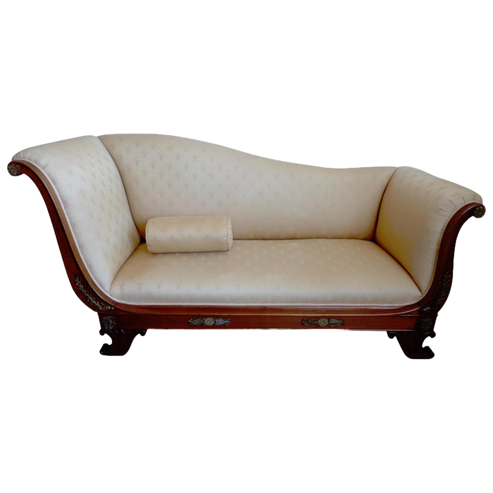 19th Century French Empire Walnut And Fabric Chaise Lounge Sofa Chairish