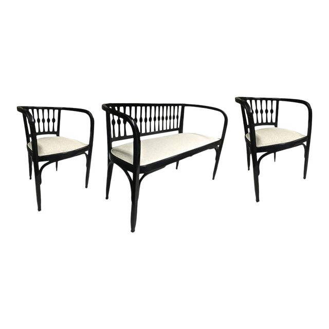 Thonet Austrian Secession Set of One Couch and Two Chairs in Bentwood For Sale