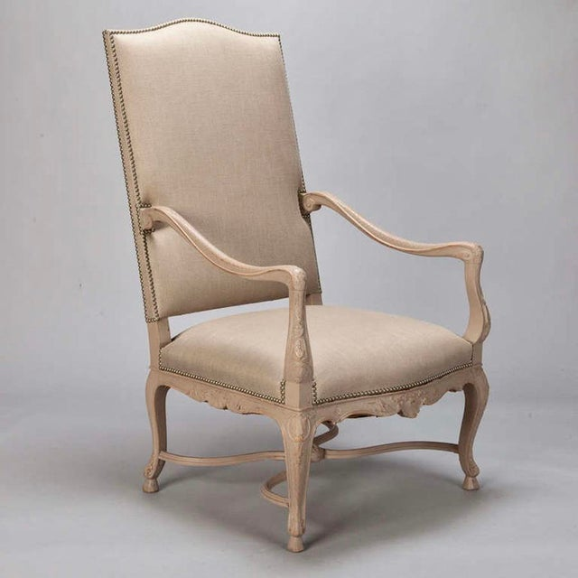 Tall French Arm Chair with Carved Painted Frame - Image 3 of 7