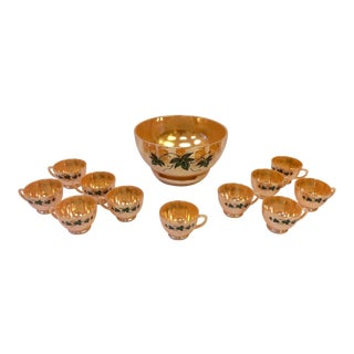 1960s Anchorglass Peach Luster Nostalgia Punch Serving Set of 12 For Sale