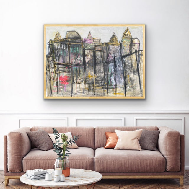 An abstracted urban cityscape/ skyline in black and greys with pops and accents of vibrant color. 36 x 48 x 1.5, Edges...