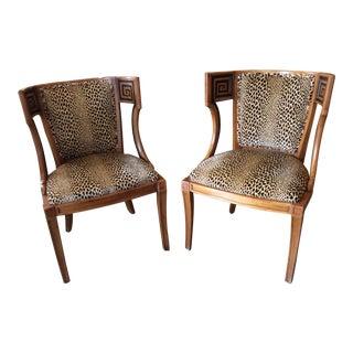 Biedermeier Style Greek Key Side Chairs - A Pair