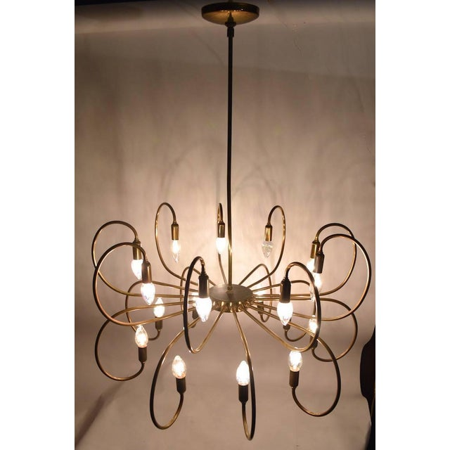 1950s Large Eighteen-Light Brass Chandelier After Sarfatti For Sale - Image 5 of 8