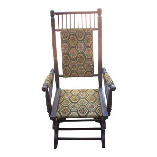 Vintage Printed Upholstered Platform Rocking Chair For Sale