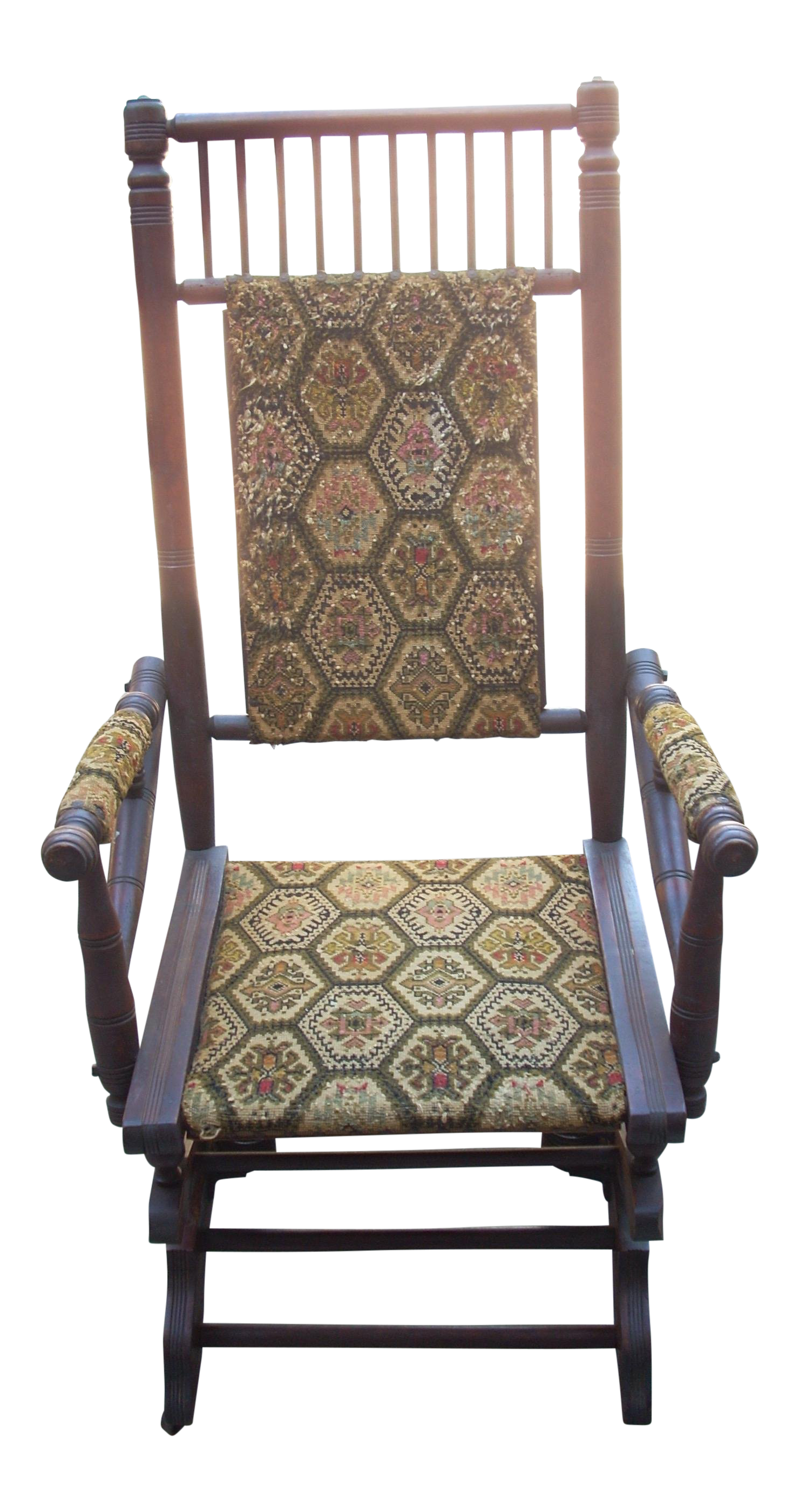 Vintage Printed Upholstered Platform Rocking Chair