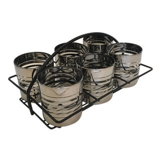 Silver Banded Cocktail Rocks Glasses in Iron Caddy For Sale