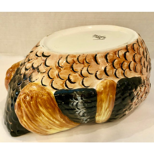Italian Hand Painted Glazed Ceramic Pheasant Soup Tureen For Sale - Image 10 of 13