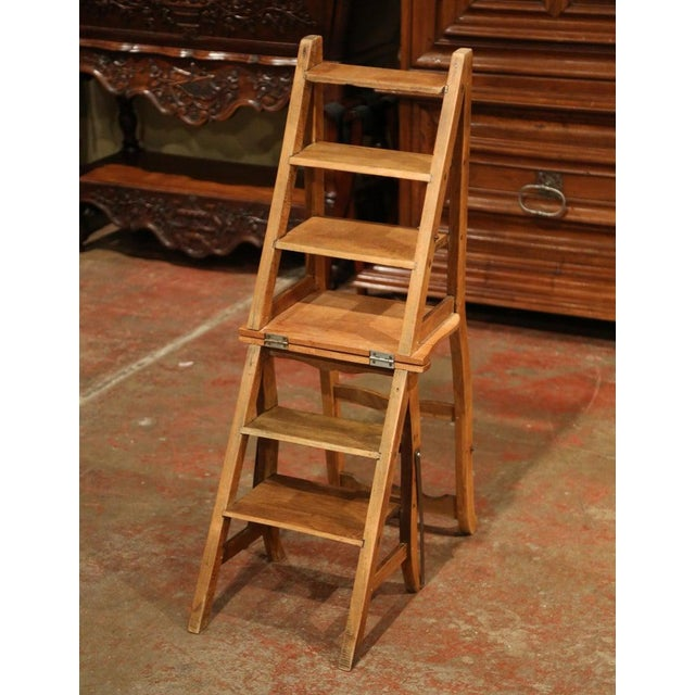 Early 20th Century Early 20th Century French Carved Beech Folding Ladder Chair From Provence For Sale - Image 5 of 7