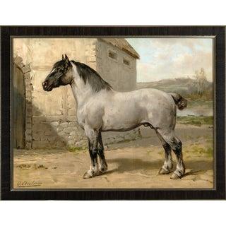 Brittany Horse by Eerelman Framed in Italian Wood Vener Moulding For Sale