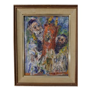 Vintage Oil on Canvas Portrait of Two Rabbis Carrying the Torah by David Pallock For Sale