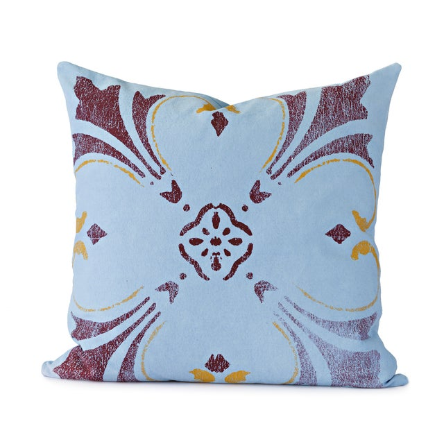 Blue Flower Throw Pillow For Sale