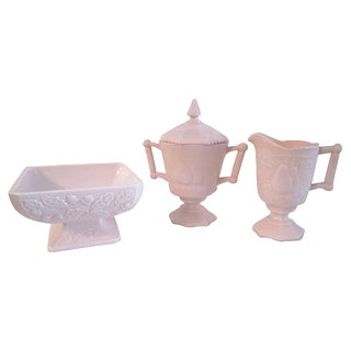 1950s Pink Creamer, Sugar & Berry Bowl - Set of 3 For Sale