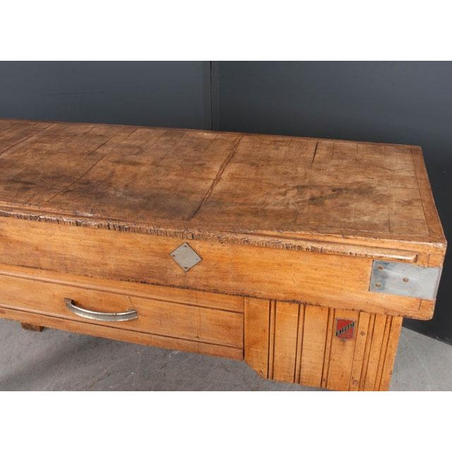 Metal French Early 20th Century Art Deco Pine Butcher Block For Sale - Image 7 of 12