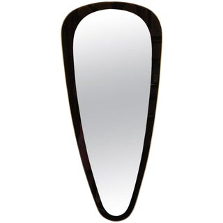 Mid-Century Modern Onyx Painted Reverse Églomisé Brass Wrapped Oval Mirror For Sale