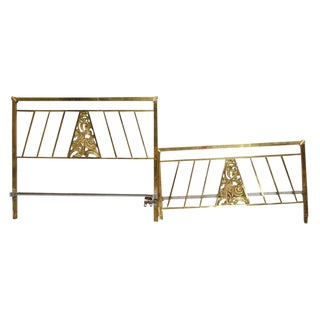 Vintage Mid-Century Brass Full Size Bedframe - 2 Pieces For Sale
