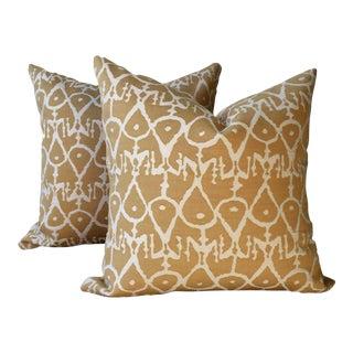Gold Contemporary Print Pillows - a Pair