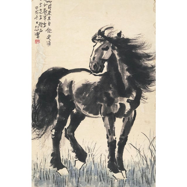 Vintage Chinese watercolor of a horse in the manner of Xu Beihong circa 1930s. Presented in cream colored matting and a...