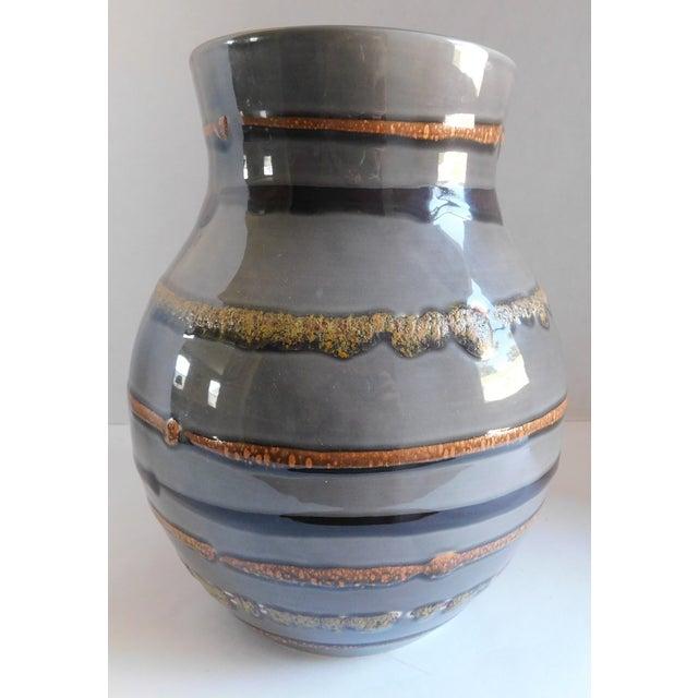 Ceramic Fabulous Grey Striped Vintage Vase For Sale - Image 7 of 10