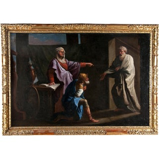 17th Century Italian Old Master Oil Painting of Saul & the Oracle For Sale