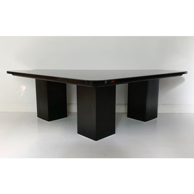 Vintage sculptural black marble coffee table with wooden base, circa 1980's in excellent condition. Reasonable offer will...