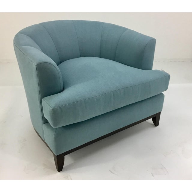 Elegant transitional Barbara Barry for Henredon Robins Egg Blue Channel Back Tub Club Chair, linen blend upholstry on a...
