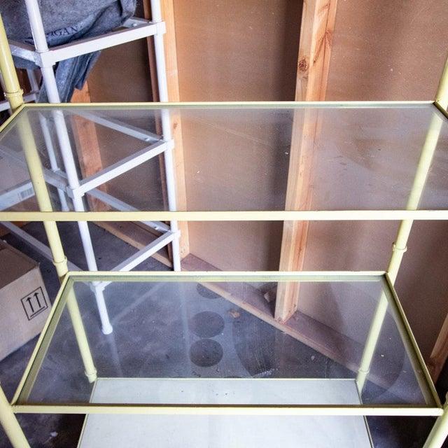 Asian Jansen Style Yellow Painted Metal Framed 5-Tier Etagere For Sale - Image 3 of 8