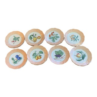 1980s Vintage Mottahedeh Fruit Plates- Set of 15 For Sale