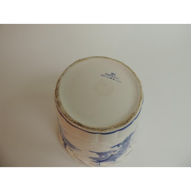 Vintage Blue & White Hand-Painted Ceramic Planter - Image 4 of 6