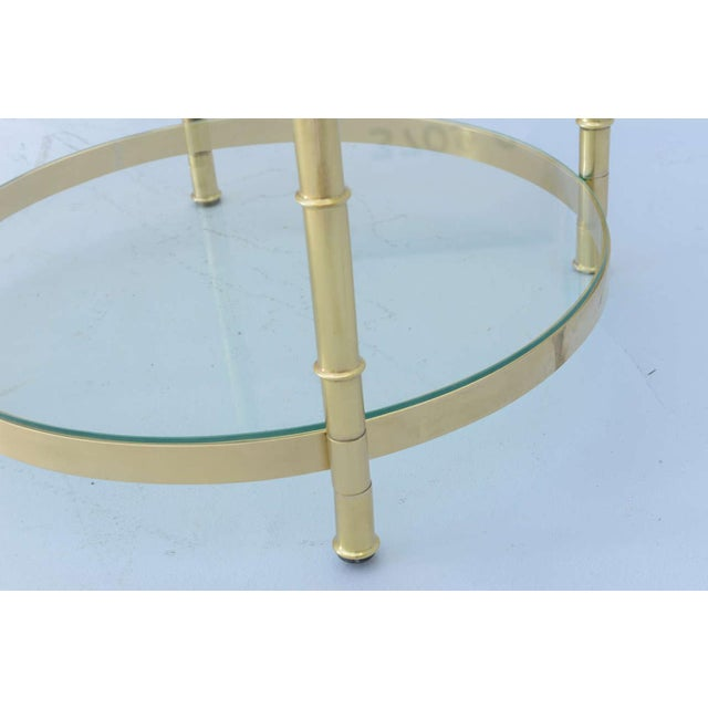 Polished Brass Faux Bamboo End Table For Sale - Image 10 of 11