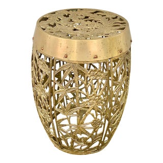 Vintage Brass Faux Bamboo and Fretwork Design Garden Stool For Sale