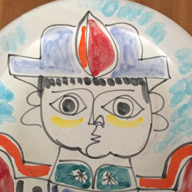 """Children's DeSimone Mi- Century 10 """" Pottery Charger For Sale - Image 3 of 10"""