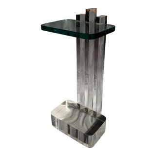 Les Prismatiques Lucite & Glass Side Table