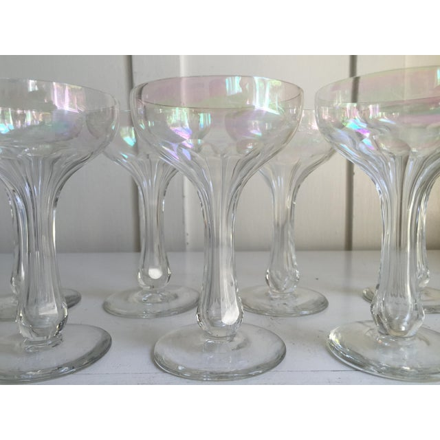 Vintage Iridescent Hollow Champagne Coupe Glasses - Set of 9 - Image 3 of 7