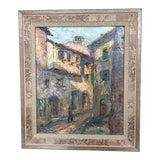 Image of European Street Scene Painting For Sale